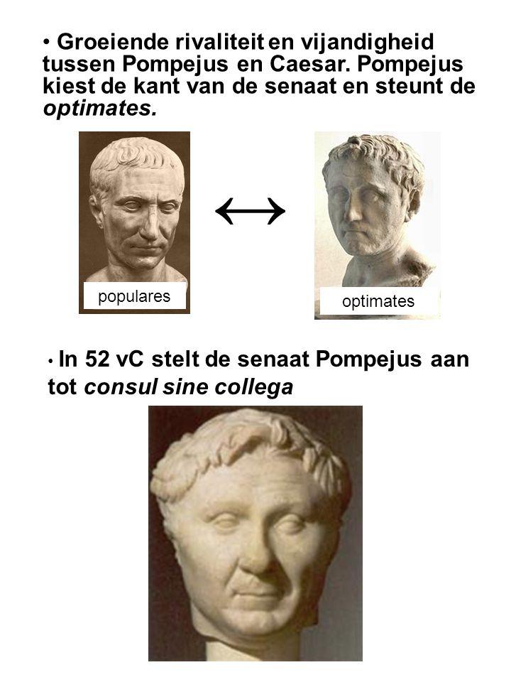 Groeiende rivaliteit en vijandigheid tussen Pompejus en Caesar