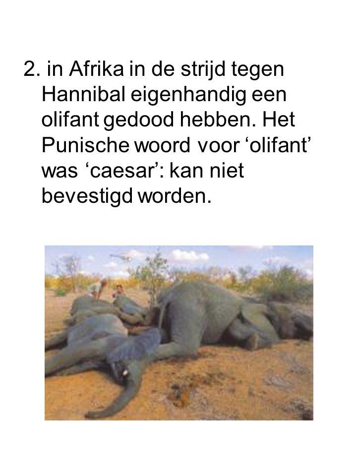 2. in Afrika in de strijd tegen Hannibal eigenhandig een olifant gedood hebben.