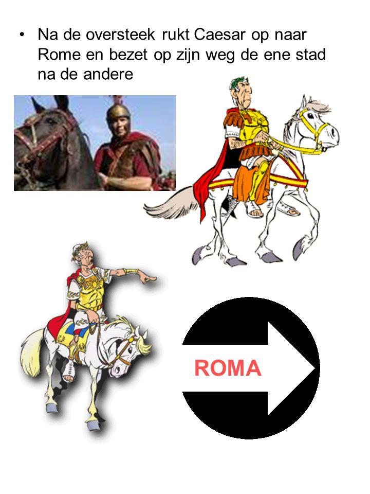 Na de oversteek rukt Caesar op naar Rome en bezet op zijn weg de ene stad na de andere