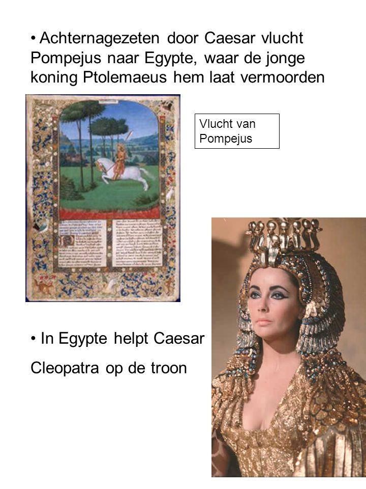 Achternagezeten door Caesar vlucht Pompejus naar Egypte, waar de jonge koning Ptolemaeus hem laat vermoorden