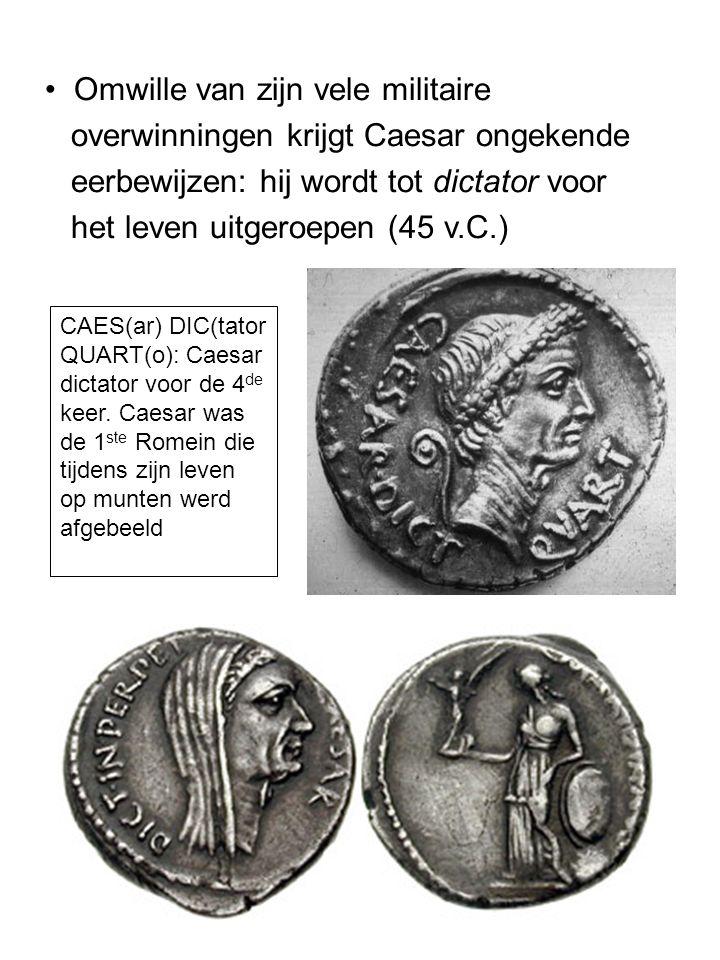 Omwille van zijn vele militaire overwinningen krijgt Caesar ongekende
