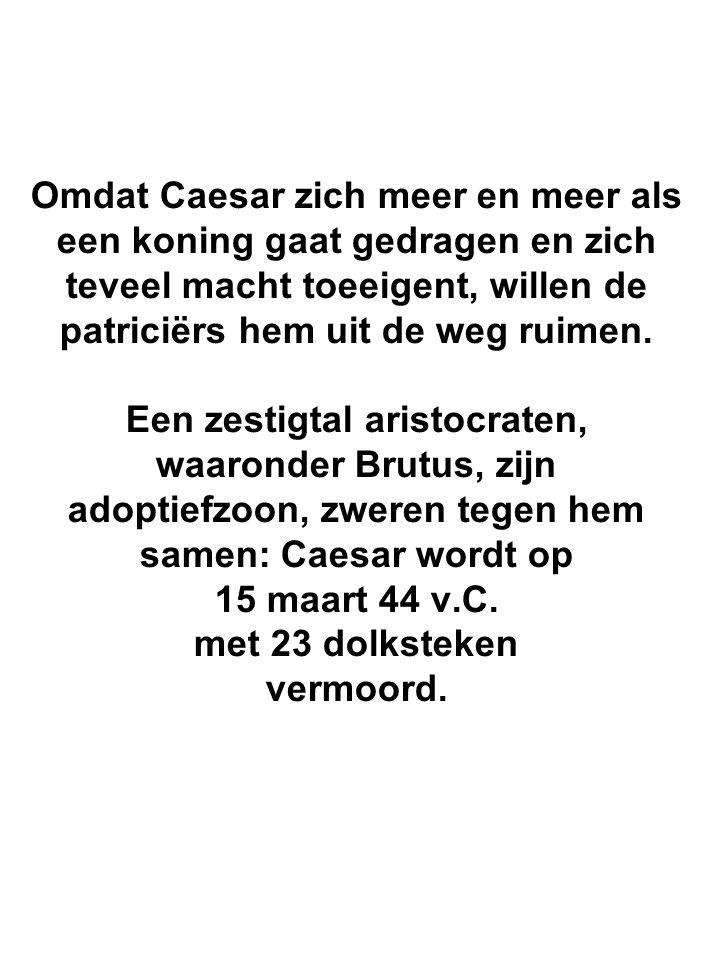 Omdat Caesar zich meer en meer als een koning gaat gedragen en zich teveel macht toeeigent, willen de patriciërs hem uit de weg ruimen.