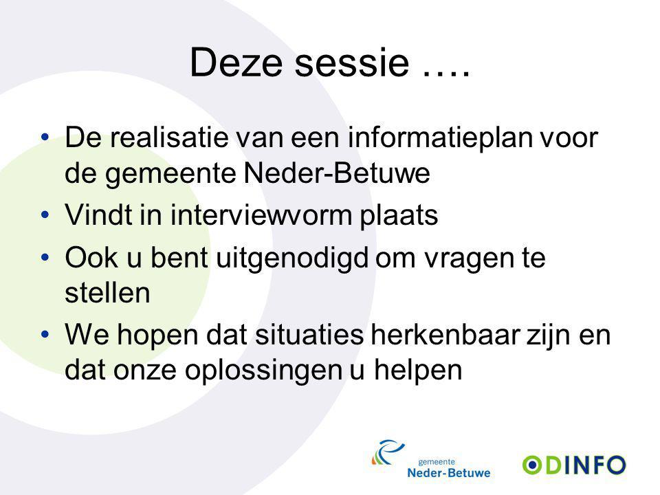 Deze sessie …. De realisatie van een informatieplan voor de gemeente Neder-Betuwe. Vindt in interviewvorm plaats.