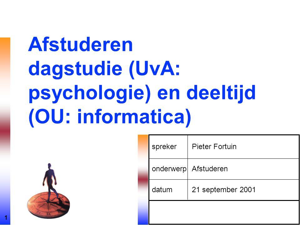 Afstuderen dagstudie (UvA: psychologie) en deeltijd (OU: informatica)