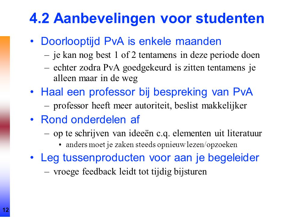 4.2 Aanbevelingen voor studenten