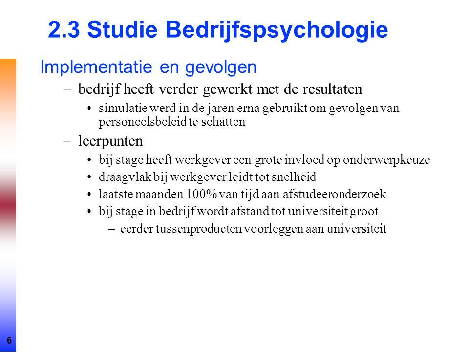 2.3 Studie Bedrijfspsychologie
