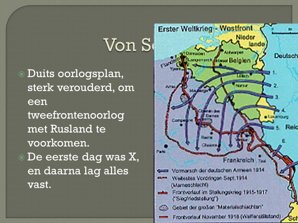Von Schlieffenplan Duits oorlogsplan, sterk verouderd, om een tweefrontenoorlog met Rusland te voorkomen.