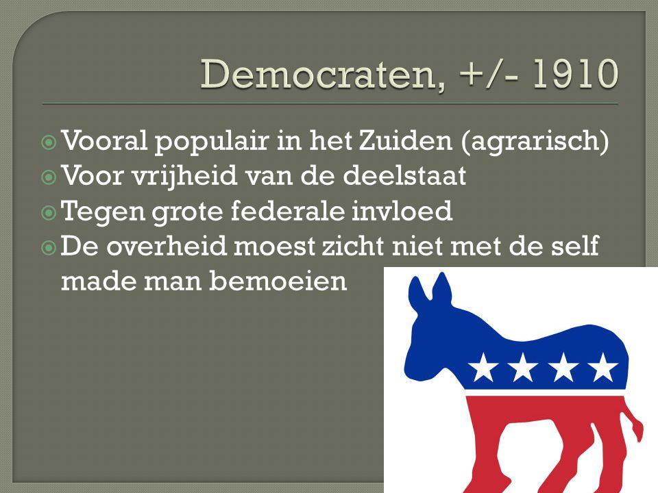 Democraten, +/- 1910 Vooral populair in het Zuiden (agrarisch)