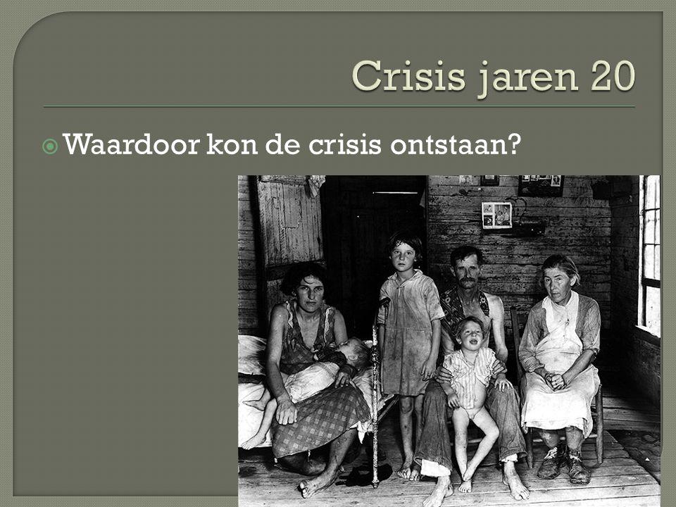 Crisis jaren 20 Waardoor kon de crisis ontstaan