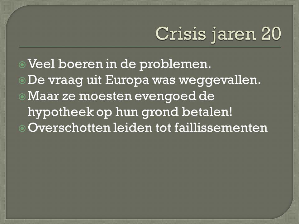 Crisis jaren 20 Veel boeren in de problemen.