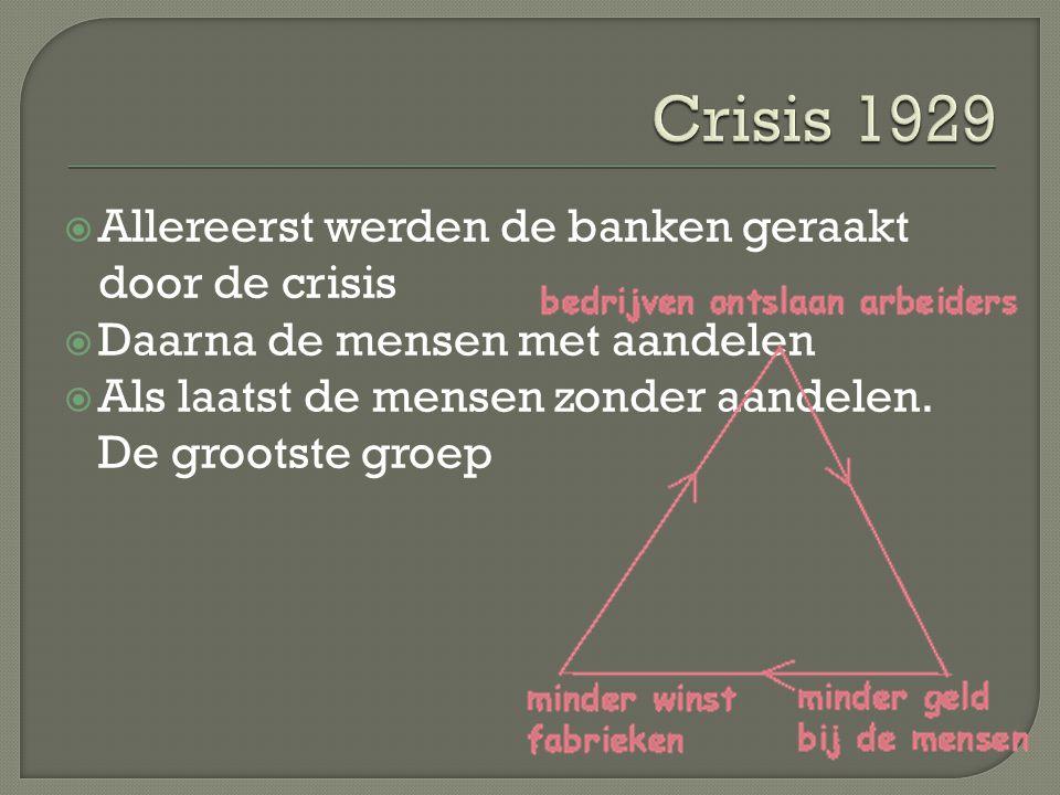 Crisis 1929 Allereerst werden de banken geraakt door de crisis