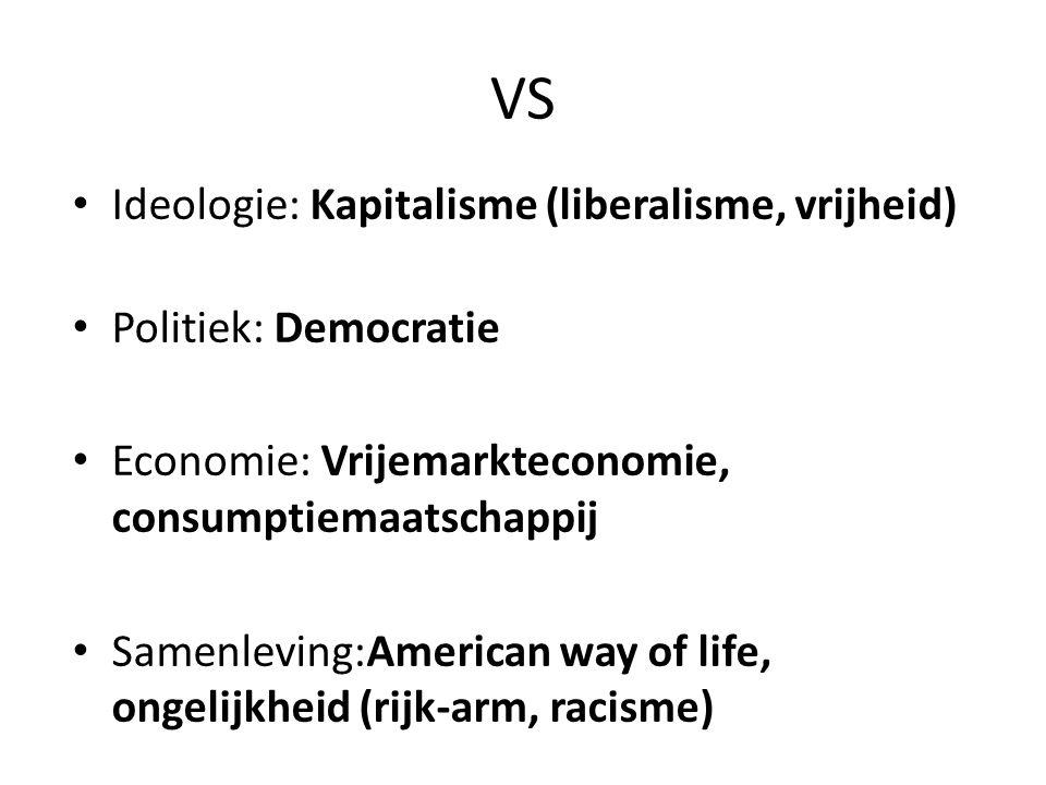 VS Ideologie: Kapitalisme (liberalisme, vrijheid) Politiek: Democratie