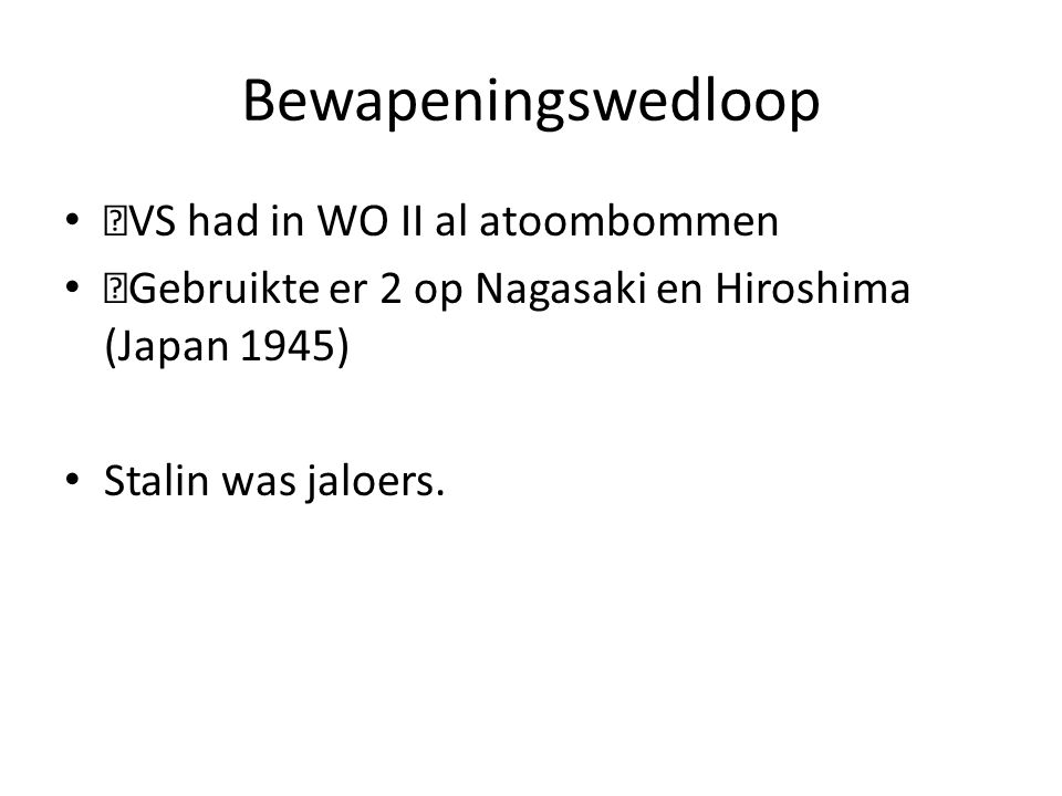 Bewapeningswedloop —VS had in WO II al atoombommen