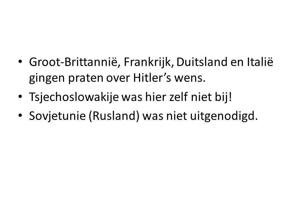 Groot-Brittannië, Frankrijk, Duitsland en Italië gingen praten over Hitler's wens.