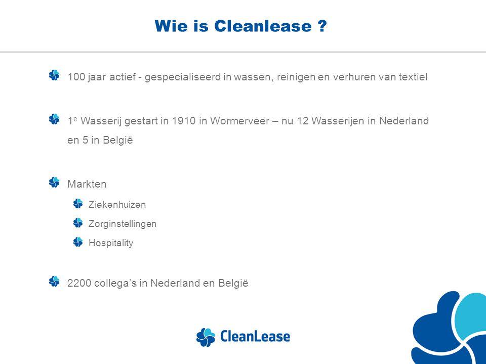 Wie is Cleanlease 100 jaar actief - gespecialiseerd in wassen, reinigen en verhuren van textiel.