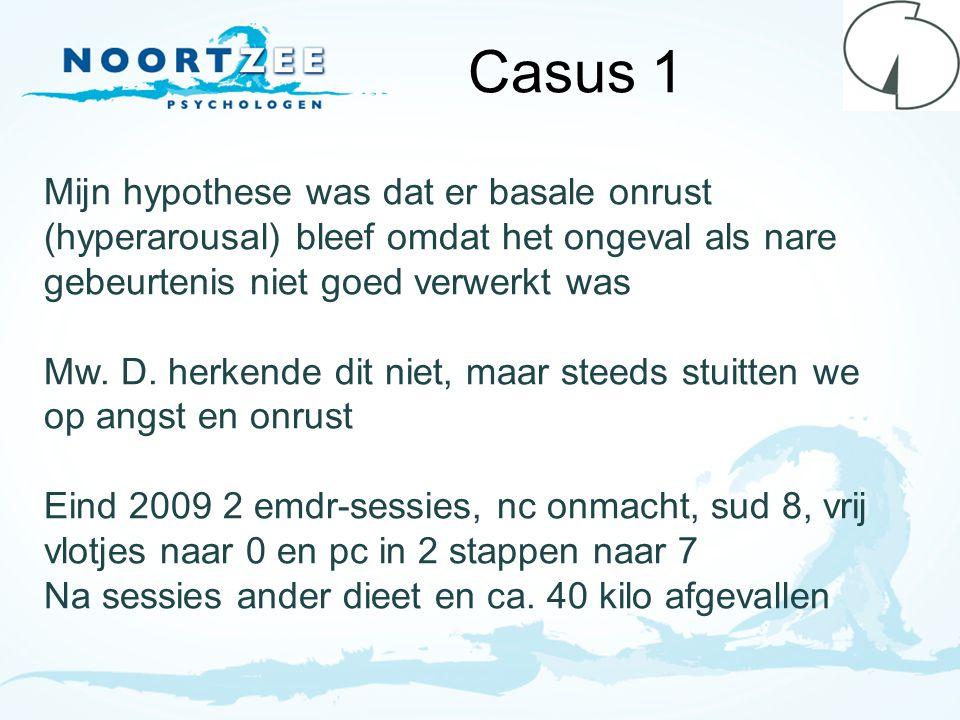 Casus 1 Mijn hypothese was dat er basale onrust (hyperarousal) bleef omdat het ongeval als nare gebeurtenis niet goed verwerkt was.