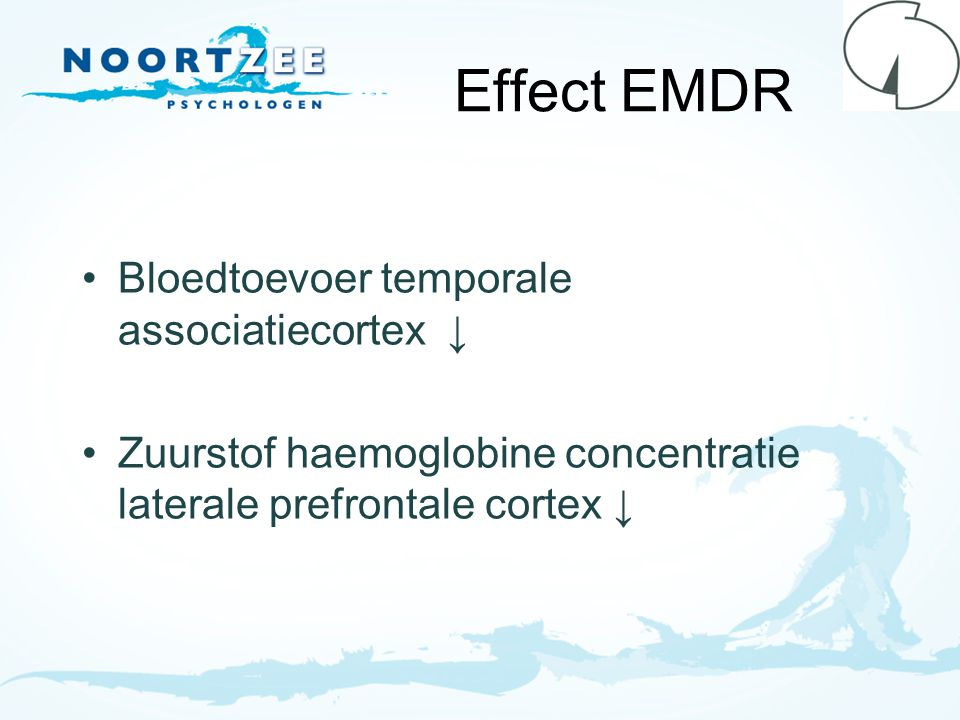 Effect EMDR Bloedtoevoer temporale associatiecortex ↓