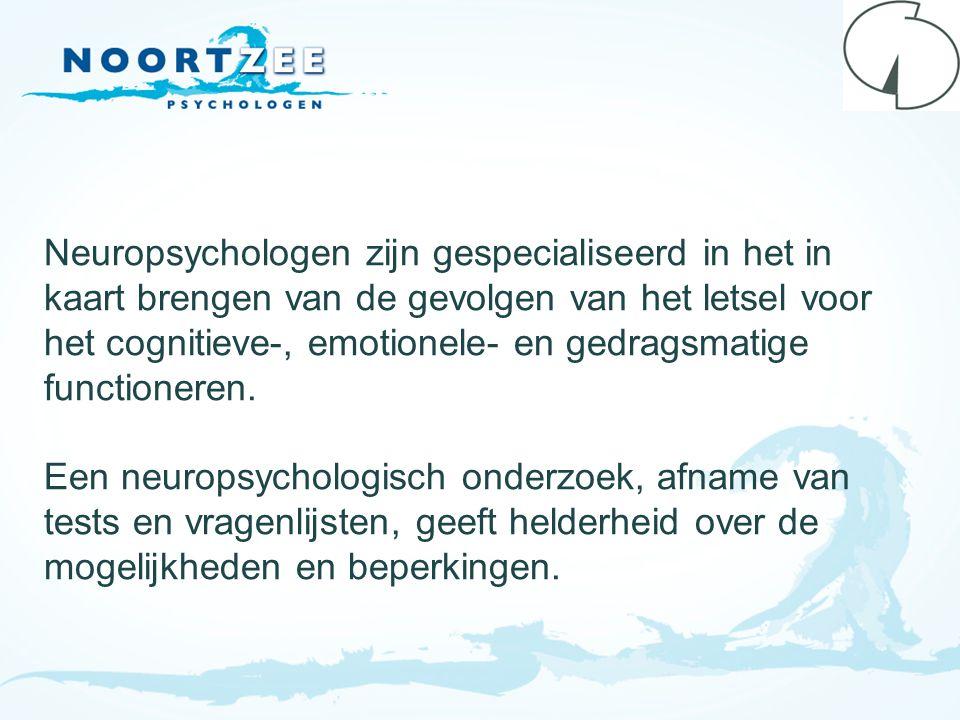 Neuropsychologen zijn gespecialiseerd in het in kaart brengen van de gevolgen van het letsel voor het cognitieve-, emotionele- en gedragsmatige functioneren.