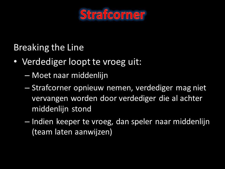 Strafcorner Breaking the Line Verdediger loopt te vroeg uit: