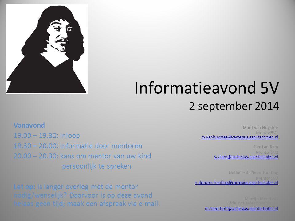 Informatieavond 5V 2 september 2014