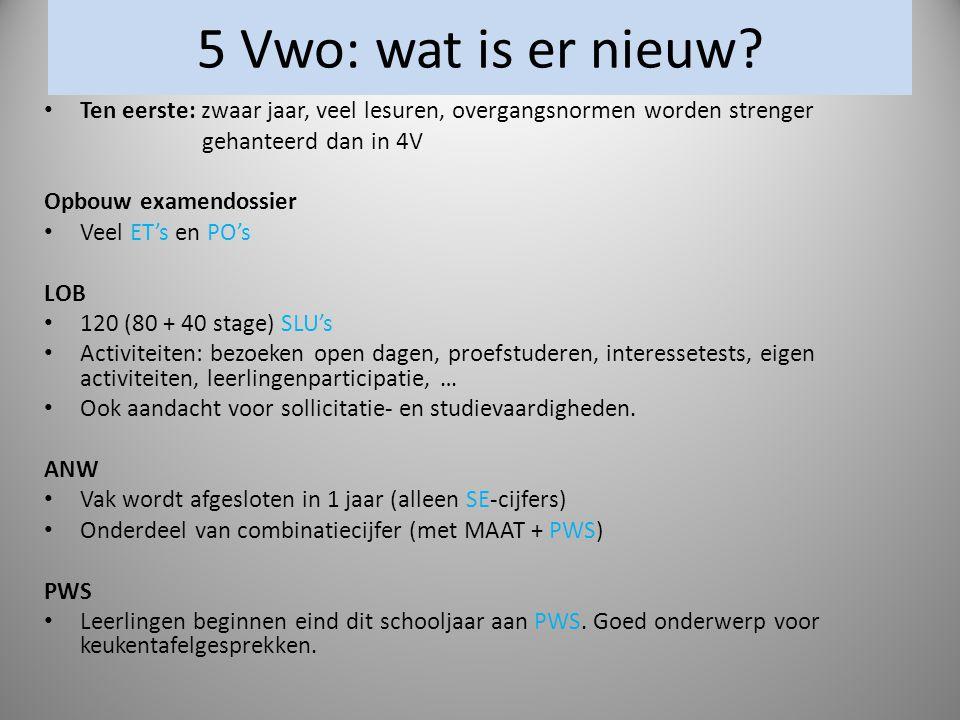 5 Vwo: wat is er nieuw Ten eerste: zwaar jaar, veel lesuren, overgangsnormen worden strenger. gehanteerd dan in 4V.
