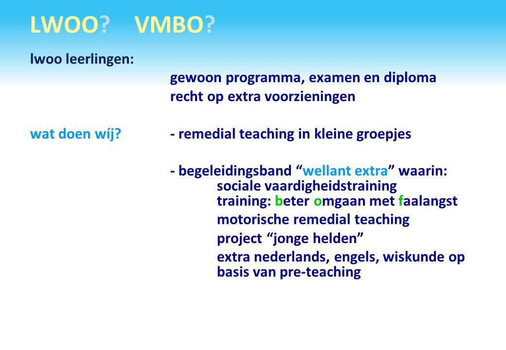 LWOO VMBO lwoo leerlingen: gewoon programma, examen en diploma