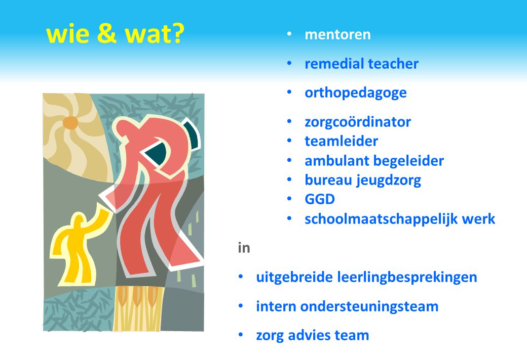 wie & wat mentoren remedial teacher orthopedagoge zorgcoördinator