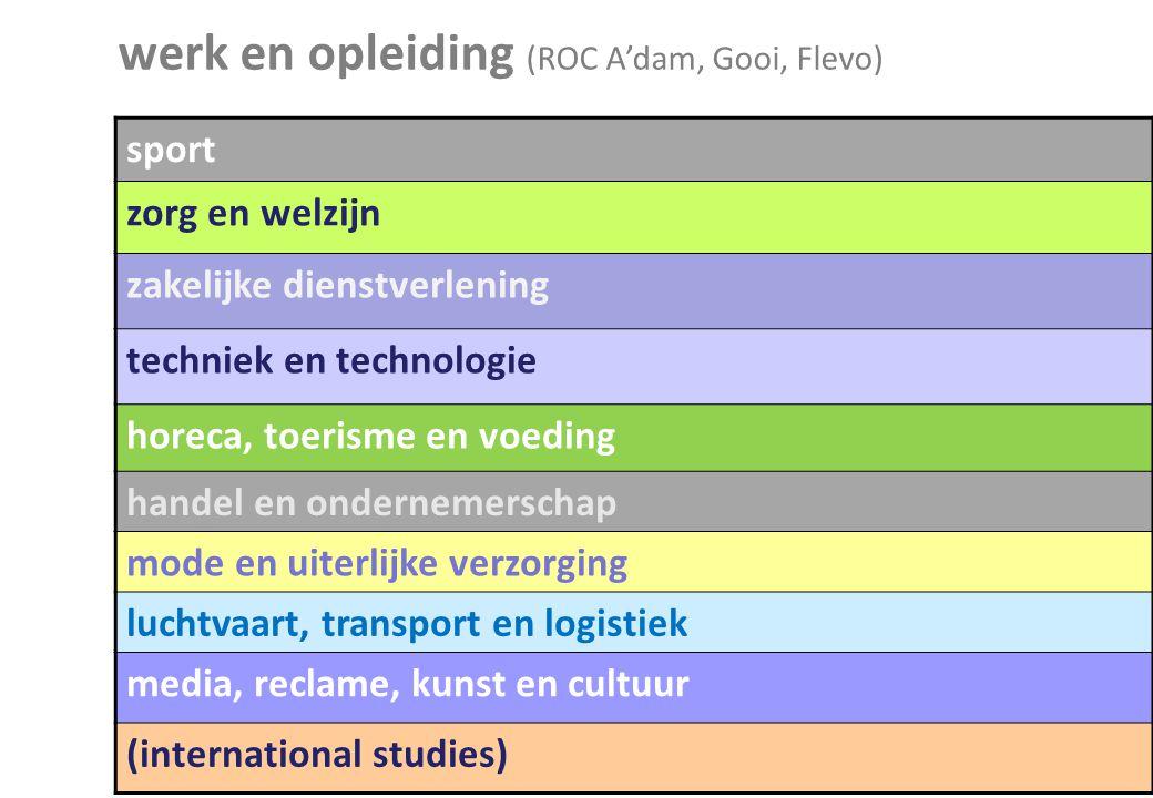 werk en opleiding (ROC A'dam, Gooi, Flevo)