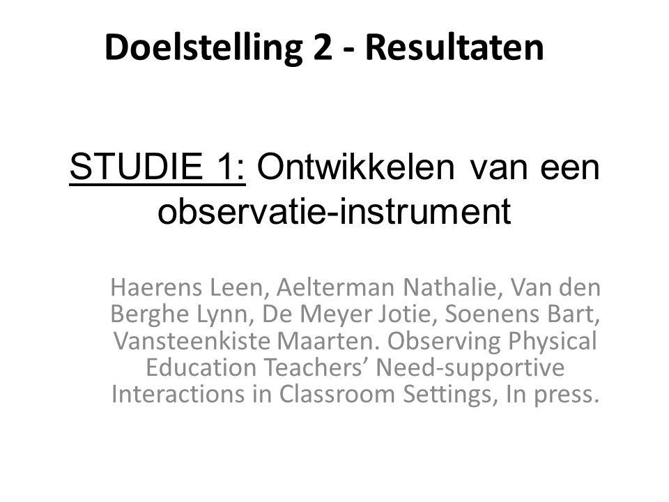 STUDIE 1: Ontwikkelen van een observatie-instrument