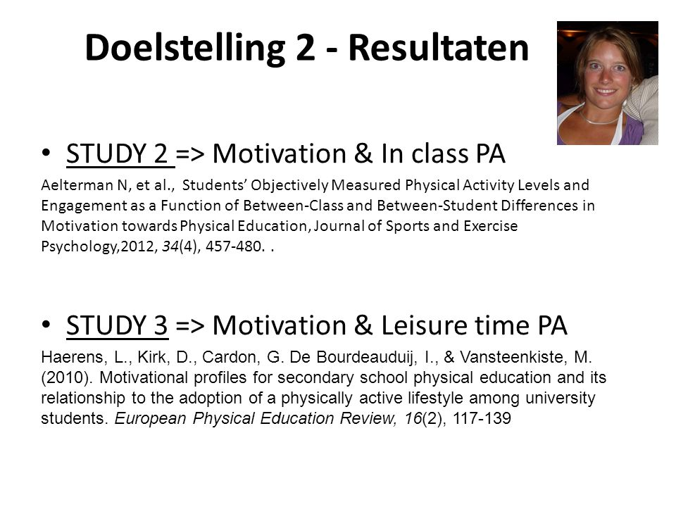 Doelstelling 2 - Resultaten