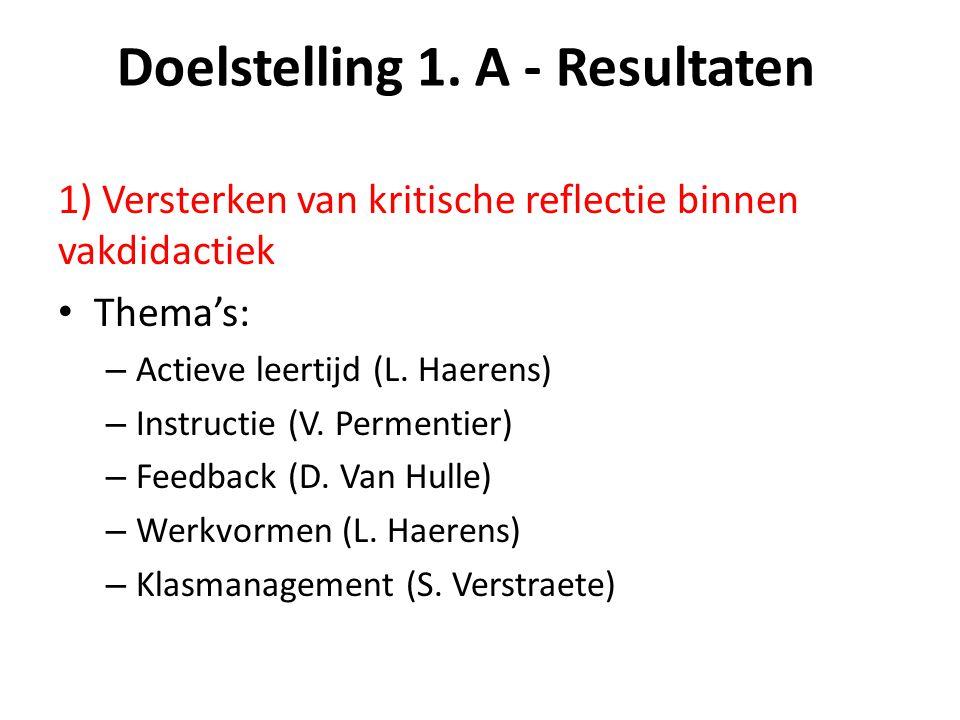 Doelstelling 1. A - Resultaten