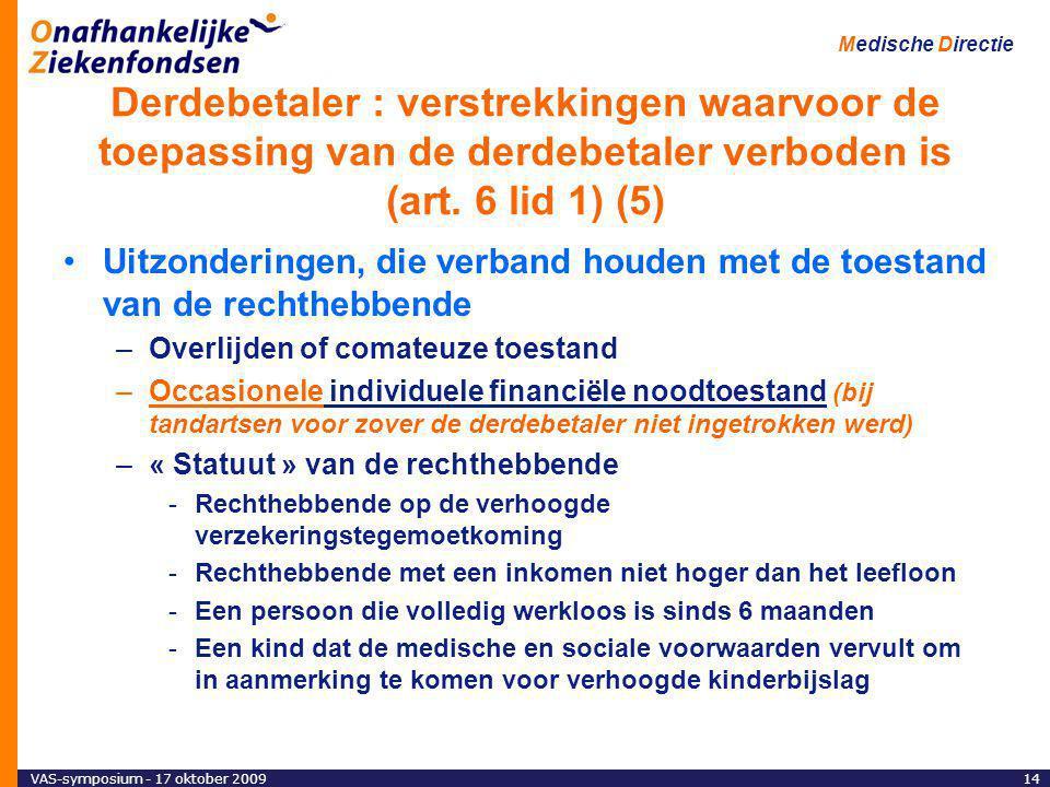 Derdebetaler : verstrekkingen waarvoor de toepassing van de derdebetaler verboden is (art. 6 lid 1) (5)