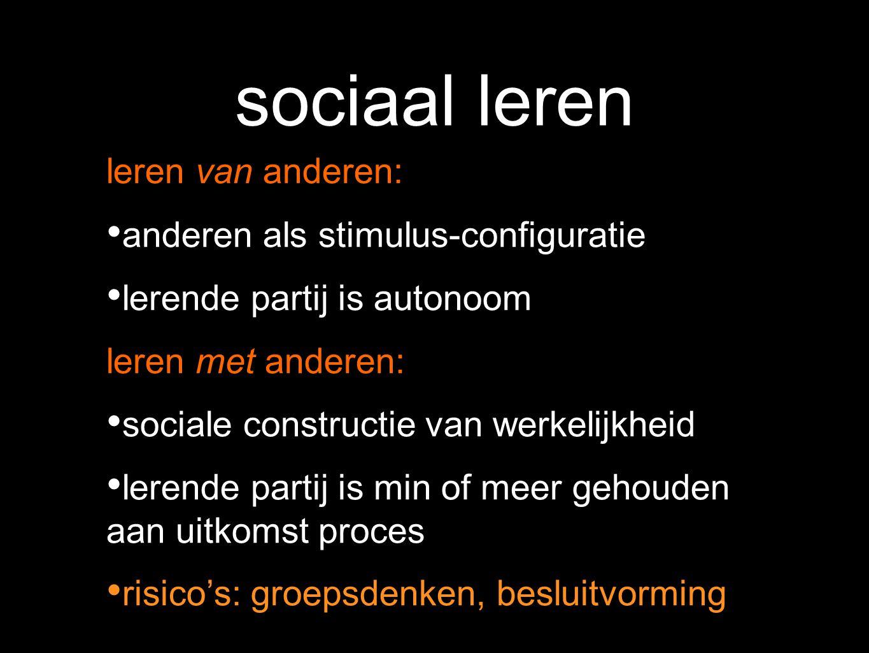 sociaal leren leren van anderen: anderen als stimulus-configuratie