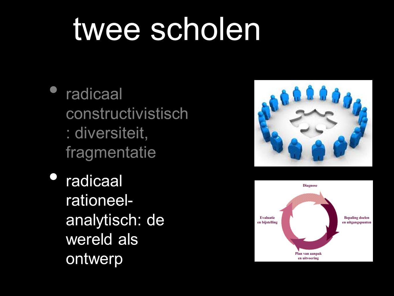 twee scholen radicaal constructivistisch : diversiteit, fragmentatie