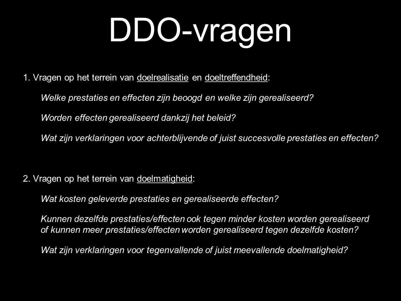 DDO-vragen 1. Vragen op het terrein van doelrealisatie en doeltreffendheid: Welke prestaties en effecten zijn beoogd en welke zijn gerealiseerd