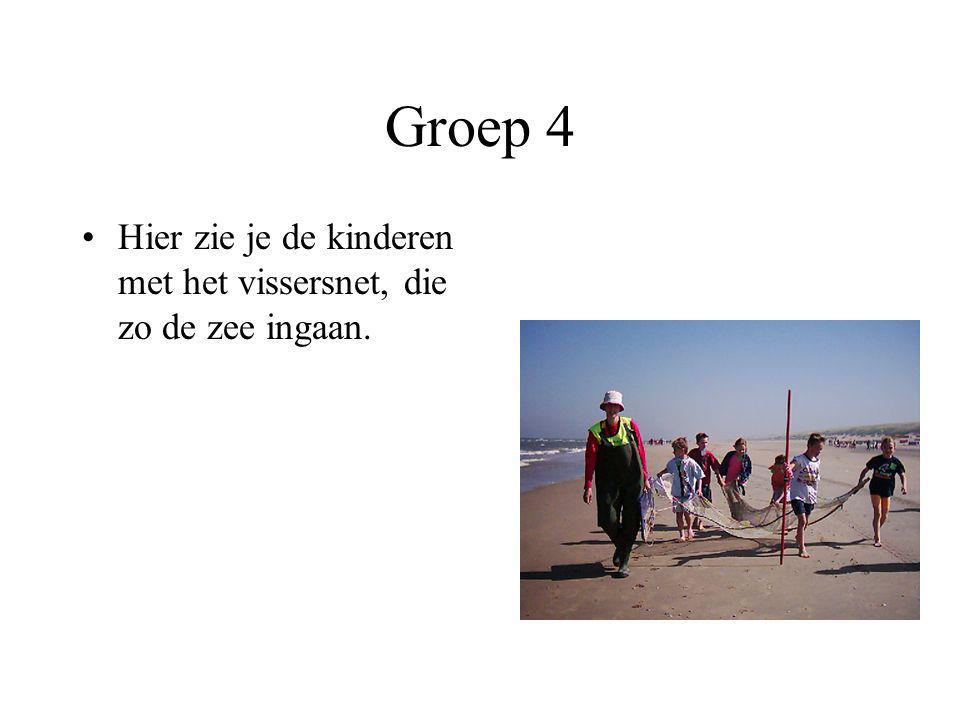 Groep 4 Hier zie je de kinderen met het vissersnet, die zo de zee ingaan.