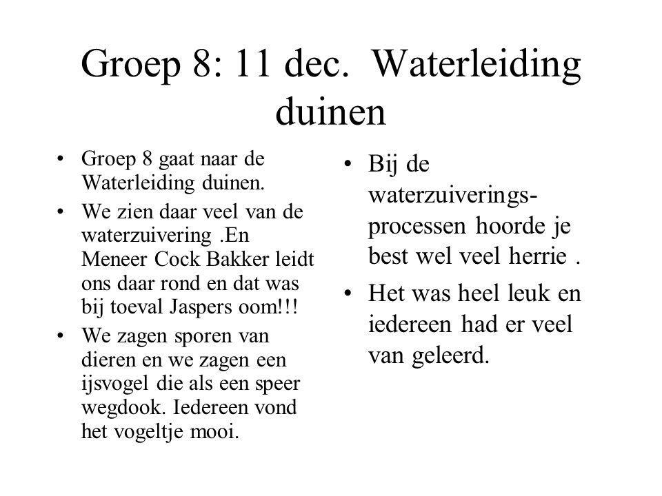 Groep 8: 11 dec. Waterleiding duinen