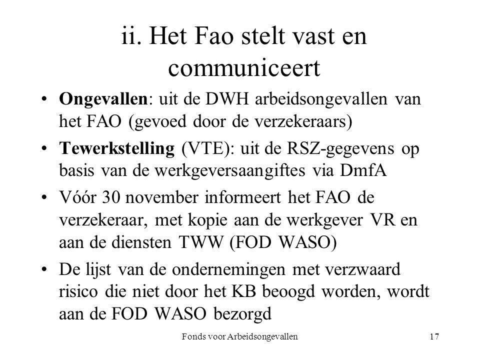 ii. Het Fao stelt vast en communiceert
