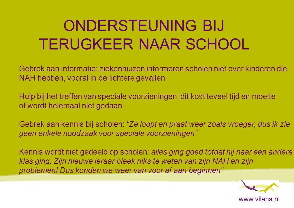 ONDERSTEUNING BIJ TERUGKEER NAAR SCHOOL
