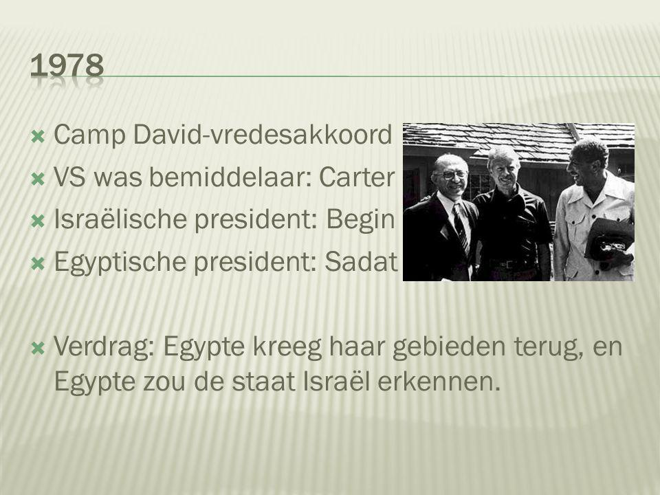 1978 Camp David-vredesakkoord VS was bemiddelaar: Carter