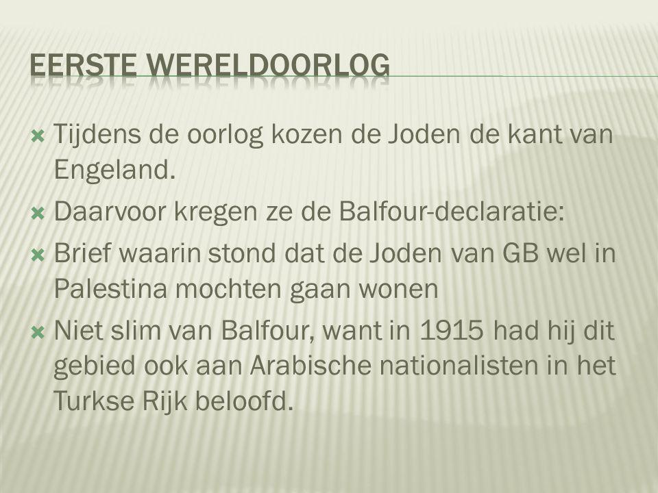 Eerste Wereldoorlog Tijdens de oorlog kozen de Joden de kant van Engeland. Daarvoor kregen ze de Balfour-declaratie: