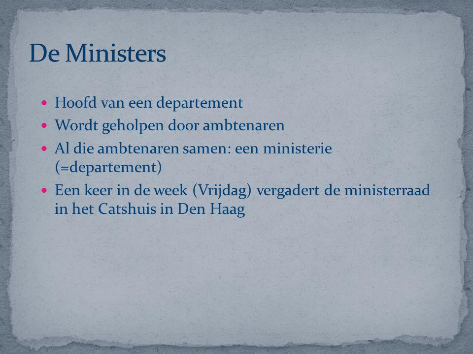 De Ministers Hoofd van een departement Wordt geholpen door ambtenaren