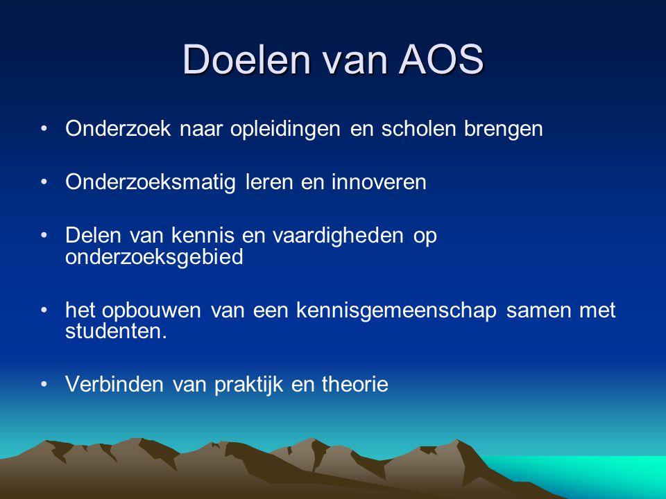 Doelen van AOS Onderzoek naar opleidingen en scholen brengen