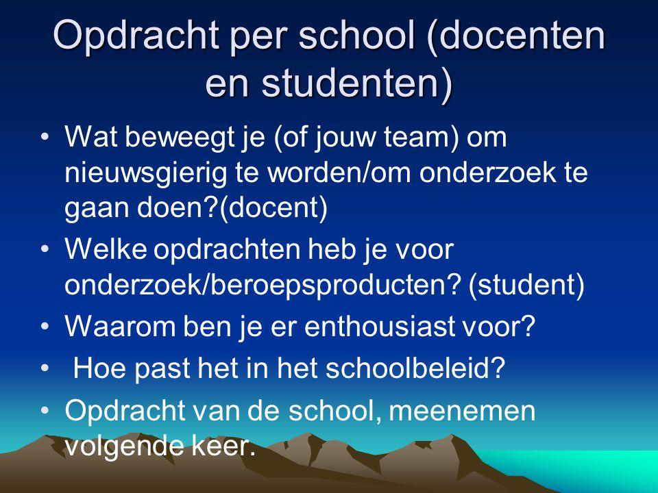 Opdracht per school (docenten en studenten)