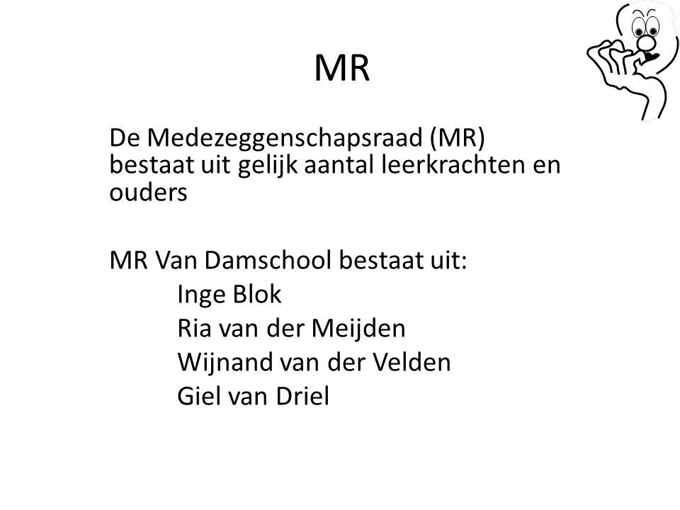 MR De Medezeggenschapsraad (MR) bestaat uit gelijk aantal leerkrachten en ouders. MR Van Damschool bestaat uit: