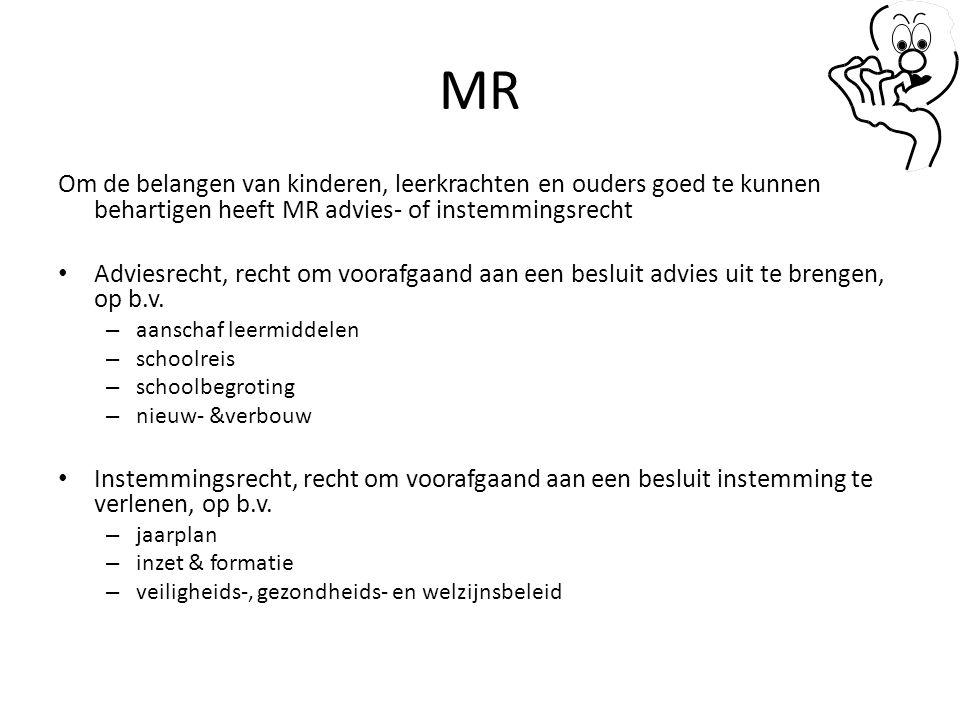 MR Om de belangen van kinderen, leerkrachten en ouders goed te kunnen behartigen heeft MR advies- of instemmingsrecht.