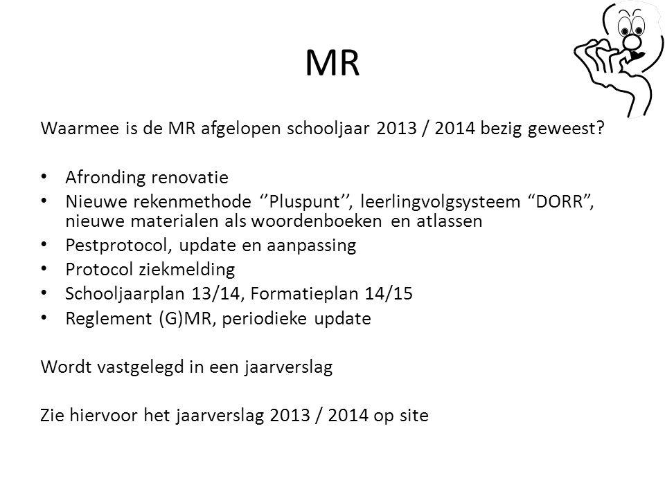 MR Waarmee is de MR afgelopen schooljaar 2013 / 2014 bezig geweest