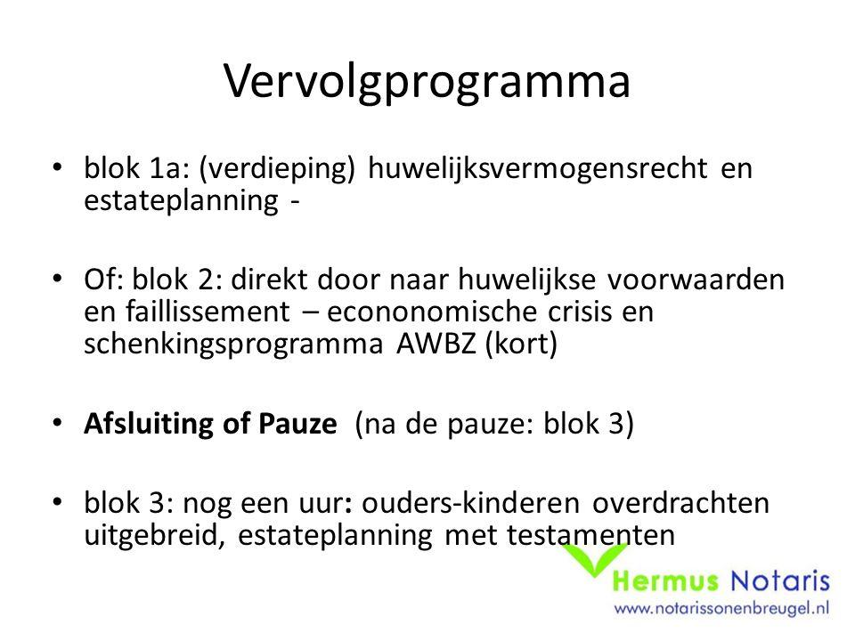 Vervolgprogramma blok 1a: (verdieping) huwelijksvermogensrecht en estateplanning -