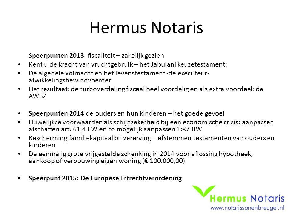 Hermus Notaris Speerpunten 2013 fiscaliteit – zakelijk gezien