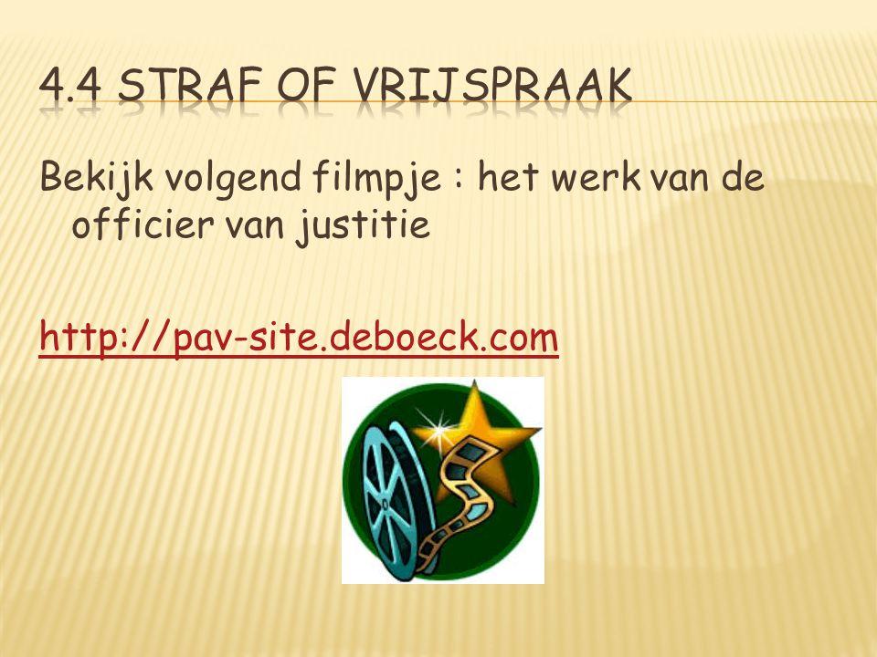 4.4 straf of vrijspraak Bekijk volgend filmpje : het werk van de officier van justitie http://pav-site.deboeck.com